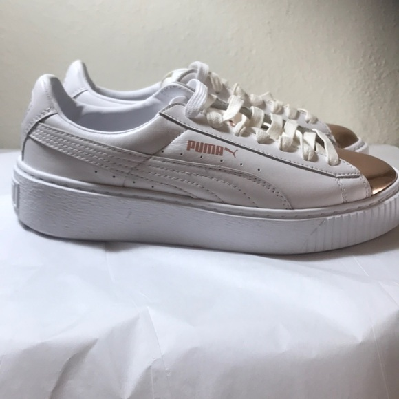 79cfe1d775abde Puma white and gold sneakers. NWT